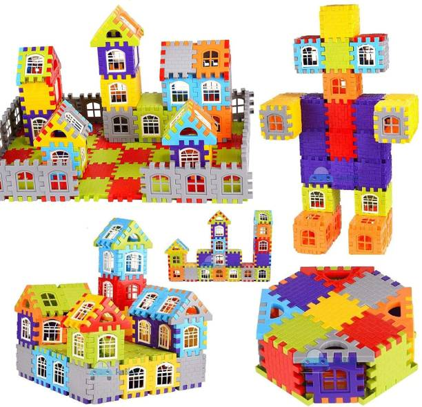 TechHark Multi Colored 110+ Pcs Happy Home House Building Blocks with Attractive Windows and Smooth Rounded Edges - Building Blocks for Kids - Blocks Game