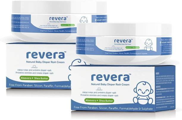 Revera Natural Diaper Rash Cream for Baby 100gm | Pack of 2 | with Zinc Oxide, Shea Butter, Almond Oil, Argan Oil & Aloevera | Healing & Soothing | Made in India