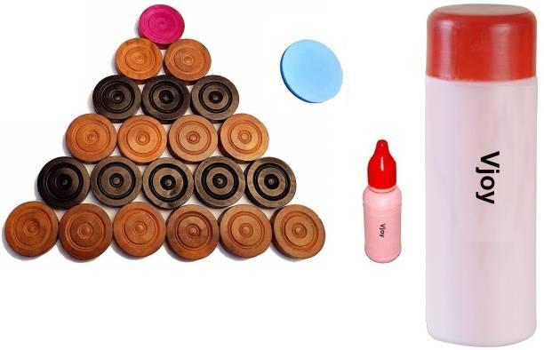 VJOY High Quality Carrom Powder With Carrom Pawns,Carrom Goti + Carrom Striker (Combo) Carrom Pawns