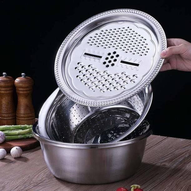 Someshwar fashion 3 in 1 Kitchen Multipurpose Kitchen Stainless Steel Bowl, Drain Basket, Julienne Graters for Vegetable Cutter,Vegetable/Fruit Grater Kitchen Mesh Strainers(Set of 1 Strainer