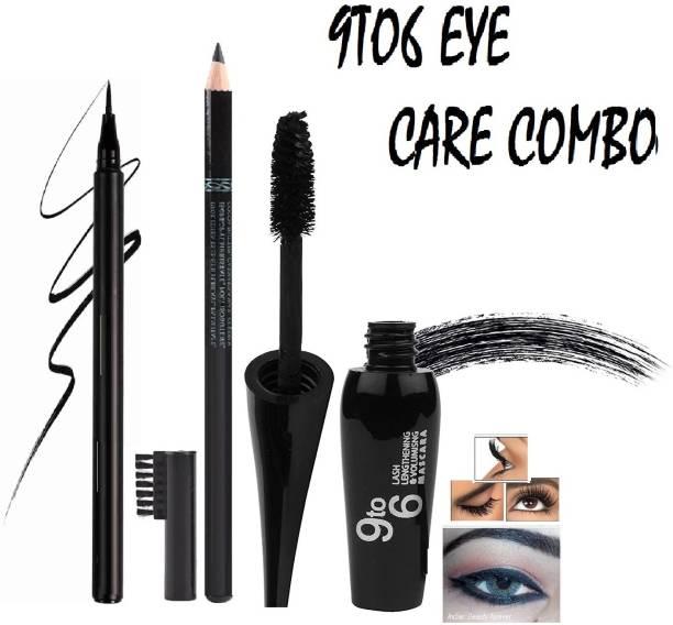 GFSU Waterproof Long lasting Drama Royal Black Best Collection Mascara & Black Sketch Eye liner With Jet Black Eye Brow Pencil