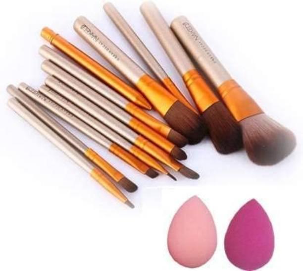 AVEU Naked3 Brush Box of 12 Makeup Brushes with 2 Quality sponge Puff