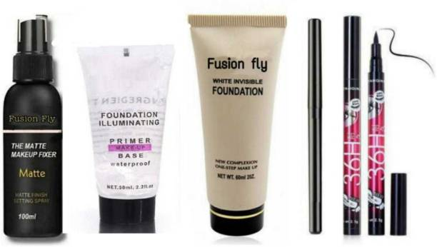 FUSION FLY Smudge Proof Essential Makeup HD Beauty Kajal & The Matte Fixer Face Setting Spray & Illuminating Pearl Primer & High Coverage Face & Body Foundation & Water proof 36 h eye liner