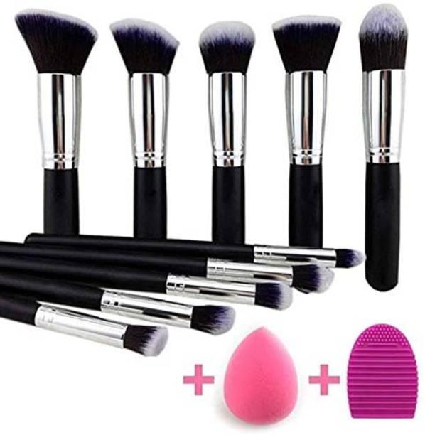AVEU Premium Synthetic Kabuki Foundation Face Powder Blush Eyeshadow Brush Makeup Brush Kit with Blender Sponge and Brush Cleaner - Makeup Brushes Set (10pcs, Black/Silver)