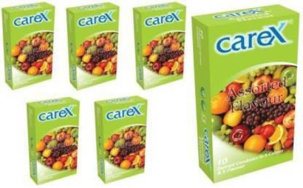 CAREX Flavour (Dotted Condom in 5 Colour & 5 Flavour) Condom Condom