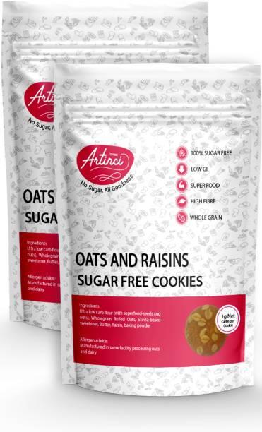 Artinci Keto Cookies Sugar Free   All Goodness   Oats & Raisins Cookies   100% Sugar Free   Low GI   No Preservatives Cookies
