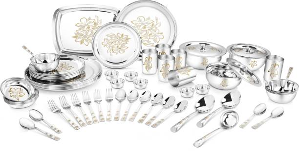 Classic Essentials Pack of 61 Stainless Steel Premium Glory with Permanent Lazer design Dinner Set