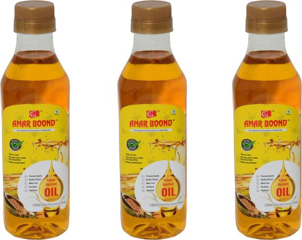 Amar Boond   Yellow Mustard Oil   Peeli Sarson Ka Tel   100% Pure and Natural   Double Filtered & Odour Free   Naturally Processed   500 ml   Pack of 3 Bottles Mustard Oil PET Bottle