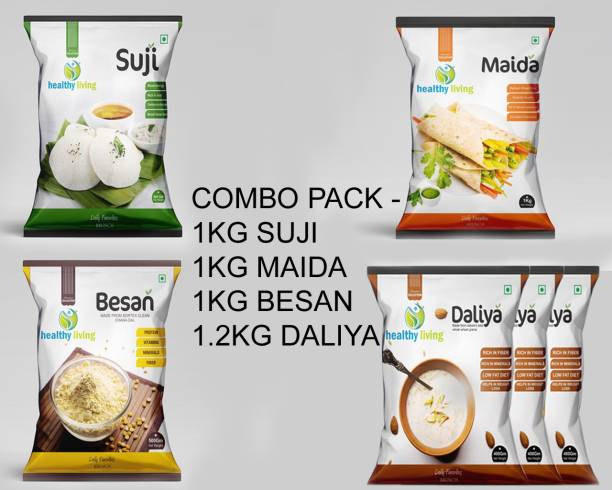 healthy living COMBO PACK OF SUJI MAIDA BESAN DALIYA