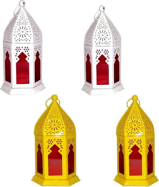 Designer International Designer International Antique Collection Decorative Moksha Hanging Lantern/Lamp with t-Light Candle, SET OF 4 YELLOW , WHITE Yellow, White Iron Hanging Lantern