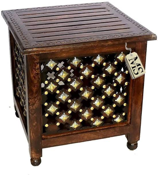 manzees Beautifull Antique Wooden Storage Stool with Brass Cutting Design Storage Stool for Living Room, Office and Bedroom Furniture (Brown, 18 X 18 X 18 Inches) Solid Wood Corner Table