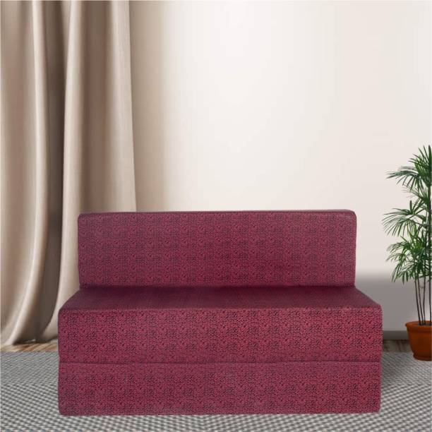 Fresh Up Triumph Four Seater Folding Sofa Cum Bed Furniture For Home and Living Room - Polycotton Fabric Washable Cover- 6x6 Feet- Maroon Double Sofa Bed