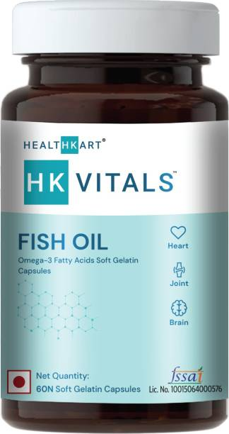 HEALTHKART Fish oil (1000 Omega 3, with 180 mg EPA & 120 mg) for brain, heart and eye health