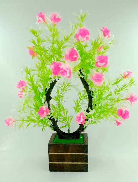 BearPaw Rose for Home Decoration Multicolor Rose Artificial Flower  with Pot