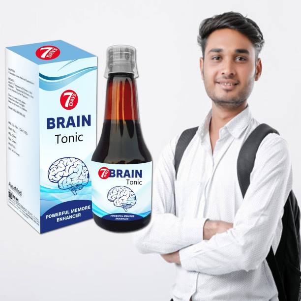 7 Days Ayurvedic Brain Tonic Syrup With Ashwagandha, Sankhpuspi & Brahmi - Perfect for Men & Women - 200 ml
