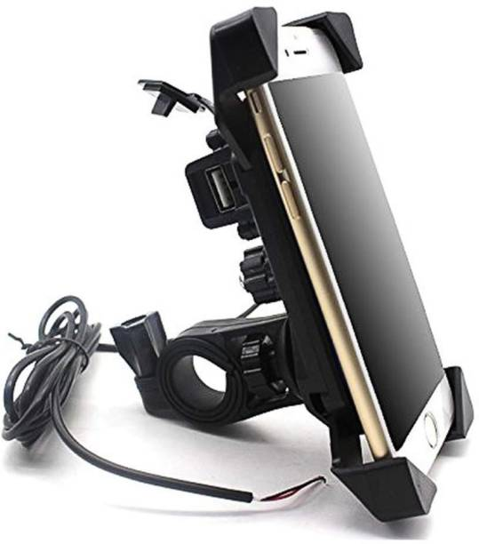 Mobias Universal Motorcycle Rotating Cell Phone Stand Mount Holder USB Charger for All Android Windows Smartphone Upto 7 inches Display- Black Bike Mobile Holder