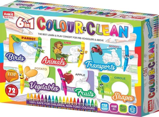 Ankit 6 in 1 Colour n Clean (Birds, Animals, Modes of Transport, Vegetables, Fruits and Shapes) Educational Board Games Board Game