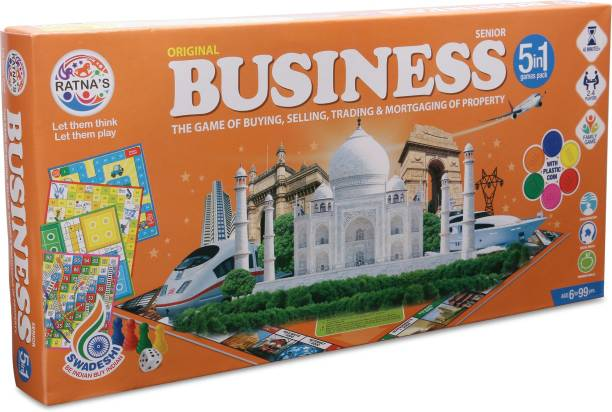 Ratnas Premium Quality Water proof Business game 5 in 1 with coins.Enhance your business skills with this game Money & Assets Games Board Game