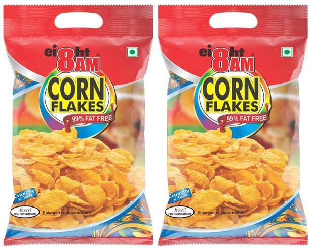 8AM by V.R. Industries (P) Ltd. Corn Flakes 500gm (Pack of 2)