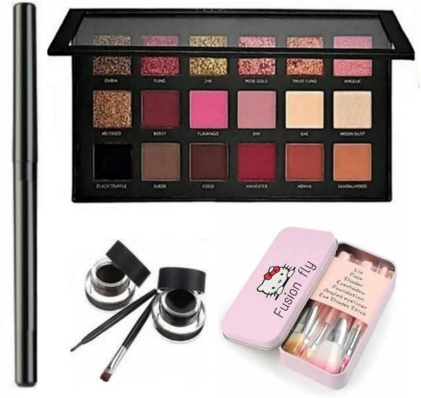 FUSION FLY Smudge Proof HDA64 Makeup Beauty Kajal & Black & Brown Gel Eyeliner & Long Lasting Set of 7 Beauty Makeup Mini Pink Brush & Rose Gold Eyeshadow Palette