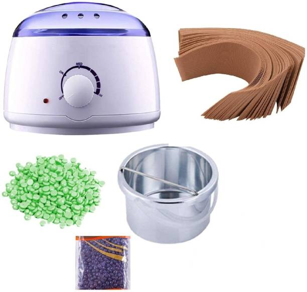 EVERLEE Wax Heater,Hot Wax Heater Combo Waxing, Wax Heater For Waxing Automatic Wax Heaters, Wax Machine For Women,Foot Waxing Kit with Wax Beans(100g) and Wax Strips For Waxing (40pcs)