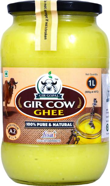 Gir Gopal 1L l Bilona Ghee l 100% Pure Vaidik Ghee (1Liter) 1 L Glass Bottle
