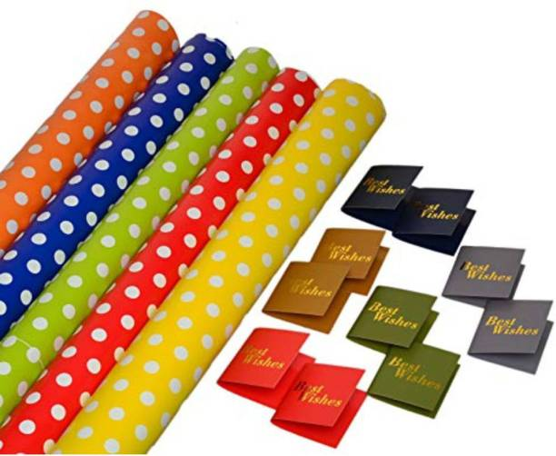 Satyam Kraft (Pack of 10) 28 x 19 Inches Gift Wrapping Paper WITH FREE 10 GIFT Tags (Polka Dot paper) polka dot Paper Gift Wrapper
