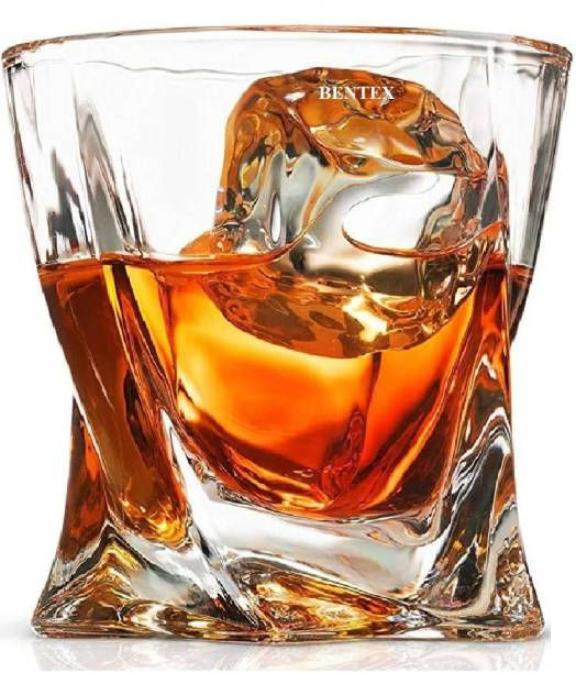 Bentex (Pack of 6) Luxury Whiskey Glass - Twist Design Crystal Touch Glass Set