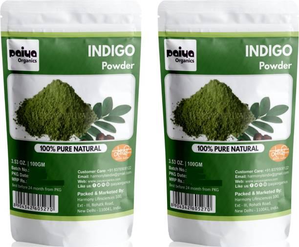paiya organics Indigo Powder For Hair, Black Organic Hair Dye (2x100gm)