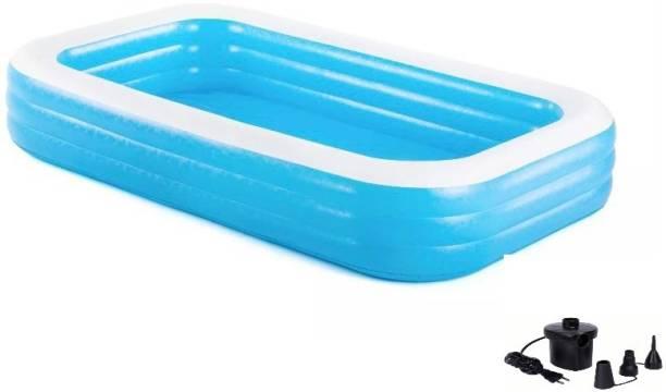 HK ENTERPRISES OFFICIAL 305 x 183 x 56cm (10 Ft ) Bestway Deluxe Blue Inflatable Rectangular Family Swimming Pool & Electric Pump For Free Inflatable Swimming Pool