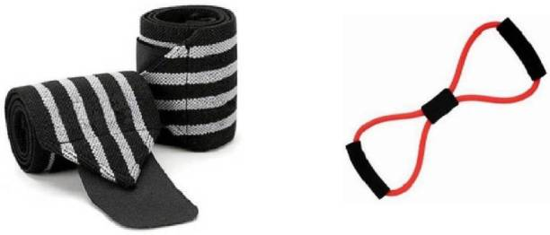 Airfit 8fig tube with pair of wrist supporter (multicolour) Gym & Fitness Kit