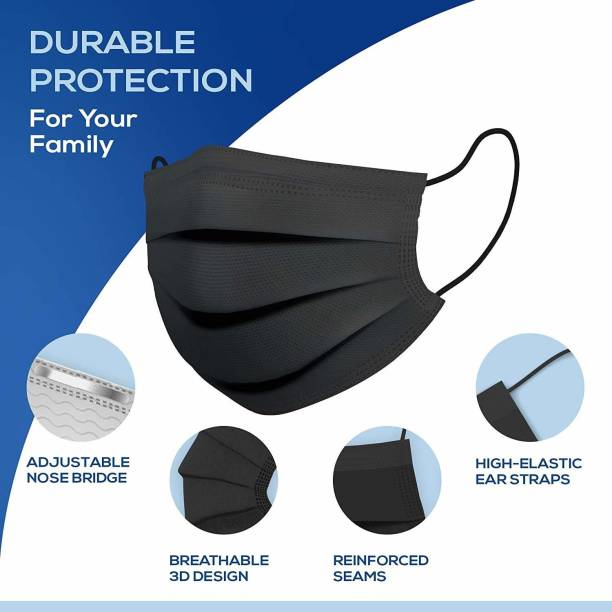MediCos 5With Nose Pin Black Units With Nose Pin Disposable Iso Mark 3 Ply Pharmaceutical Breathable Surgical Pollution Face Mask Respirator with 3 Layer For Men, Women, KidS 3 ply Black Surgical Mask With Melt Blown Fabric Layer