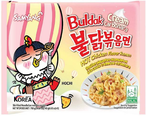 Samyang Cream Carbonara Hot Chicken Flavour Ramen Noodles Instant Noodles Non-vegetarian