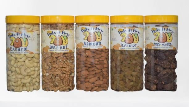 Nuts N More daily needs pack of 5 combo walnut, almonds, cashews, raisins and dry dates premium akhrot, kaju, badam, kishmish, chuhara Cashews, Walnuts, Almonds, Raisins, Dry Dates