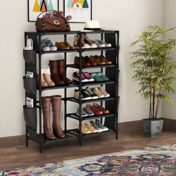 Hemovia COLLAPSIBLE SHOE STAND Plastic Collapsible Shoe Stand Metal, Solid Wood Shoe Rack