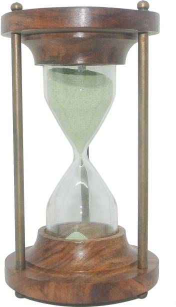 Tora Creations 5 Minute Antique Wooden Sand Timer for Table And Office Decor (Brass & Wood, Green) Decorative Showpiece  -  12.5 cm