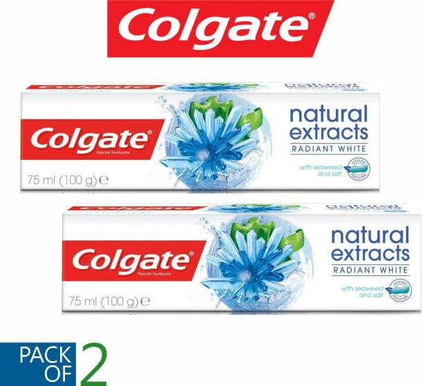 Colgate (PACK OF 2) Natural Extracts Radiant White Imported Toothpaste