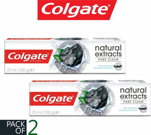 Colgate (PACK OF 2) Natural Extracts Pure Clean Activated Charcoal And Mint Imported Toothpaste