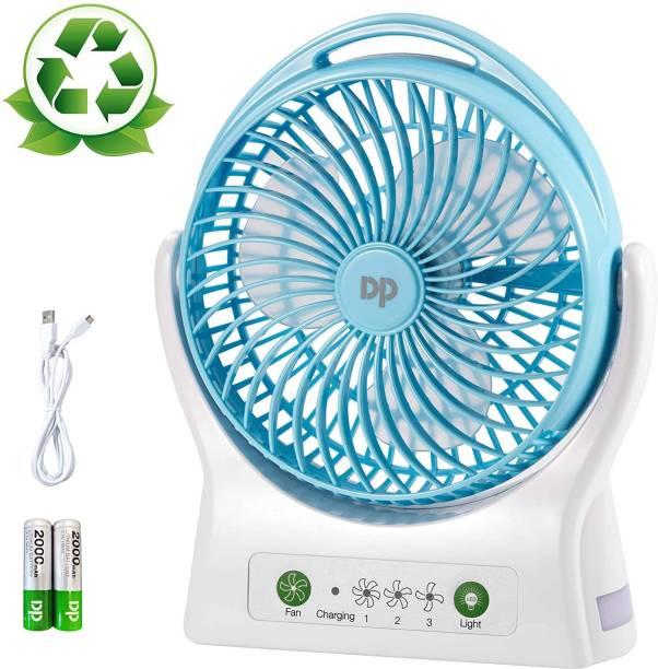 JK Sales DP 7605 DP 7605 Battery Operated Desk Fan, 4000mAh USB Rechargeable Battery (Included), 3 Speeds, 330 Degree Rotation USB Fan, Rechargeable Fan