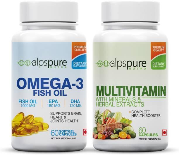 ALPSPURE Nutra (Combo) Multivitamin 60 Capsules & Omega 3 Fish Oil 60 Softgel Capsules