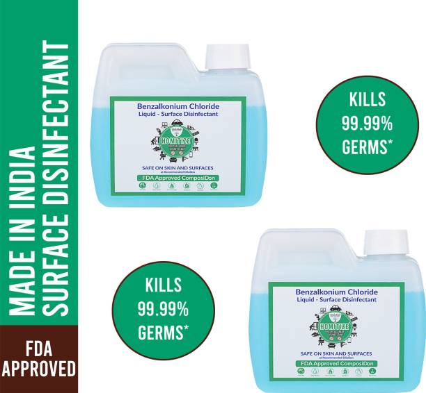 HerbShala Homitize - Kills Virus- Multipurpose Surface Disinfectant For Hospital, Home & Office - 200X Concentrate - Safe On Skin - Use it as Surface Disinfectant/ Multi-Purpose Disinfectant - FDA Approved - [Made In India] - 1 Ltr - Pack of 2