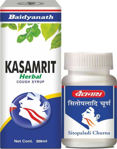Baidyanath Sitopaladi Churna and Kasamrit Cough Syrup Combo | For Healthy Respiratory System, Nutrition and Energy | Helps in Painful Throat, Cough and Cold |