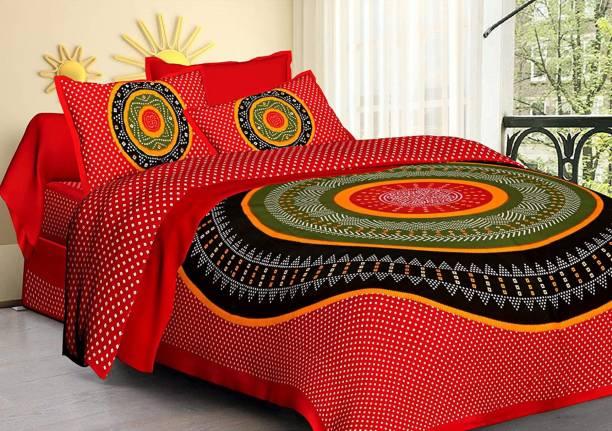Vaibhav Cart 144 TC Cotton Double Jaipuri Prints Bedsheet