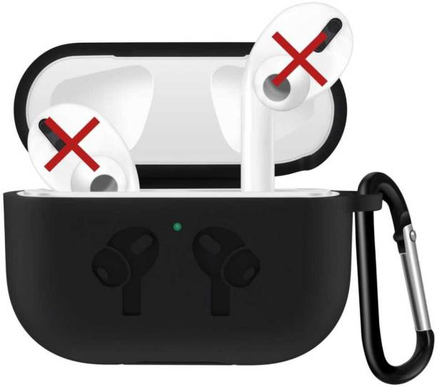 Telca Pouch for Apple AirPods Pro , Soft Silicon Black Case With Hinges And Clip Airpods Pro Case Cover