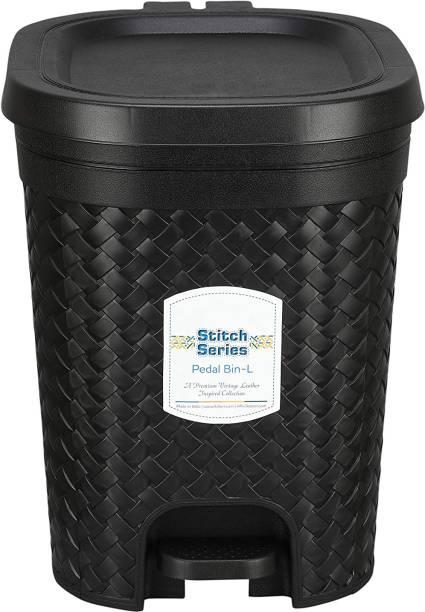 N H Enterprise Stitch Pedal Waste Bin Modern Design Trash Can Plastic Dustbin _ 15 L ( Black ) Plastic Dustbin