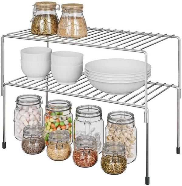 SMART SLIDE 2 Tier Stainless Steel Cabinet Shelf Organizer, Expandable & Stackable Counter Spice Racks, Multifunctional Storage Racks for Kitchen, Bathroom, Cupboard & Pantry Containers Kitchen Rack