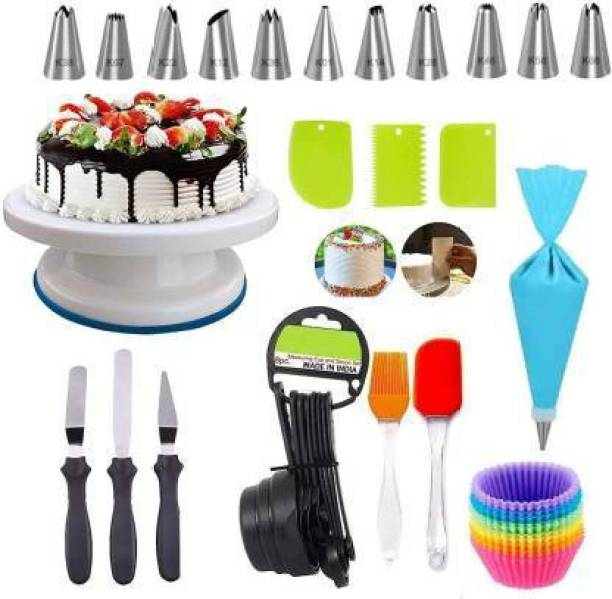 swarupachal swaru 0032 cake baking tool set 1*cake turn table,1*12 pcs nozzle,1*oil brush with spatula,1*3 in 1 knife,1*3 pcs scrapper,1*8 pcs measuring spoon,1*silicone cup Multicolor Kitchen Tool Set (Multicolor) Multicolor Kitchen Tool Set