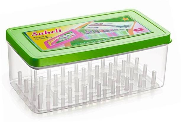 Toto Saheli Thread and Needle box - Big Size 36 spools Empty Thread Box/ Tailor Box - Green