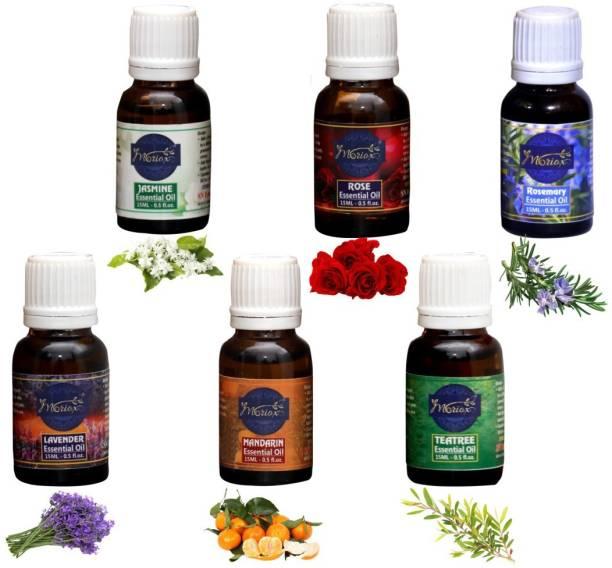 MORIOX Jasmine Oil,Rose Oil,Rosemary Oil,Lavender Oil,Mandarin Oil and Tea Tree essential oils for Hair,Skin & Aromatherapy 100% Pure & Natural Oils