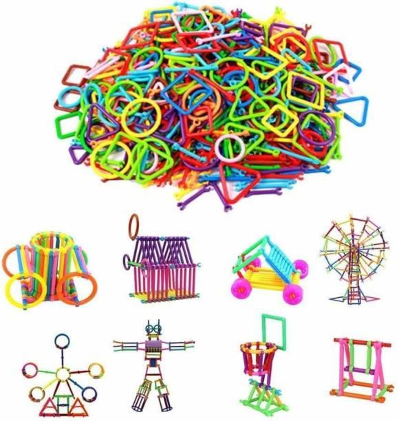 GOLDEN-BRIGHT Mega Jumbo Pack of Multi Colored DIY Educational Building Blocks Smart Stick with Different Shape Game Set for Kids
